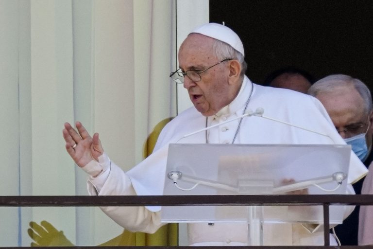 Pope Francis delivers Sunday Angelus from the balcony of his tenth-floor hospital window in Agostino Gemelli Polyclinic